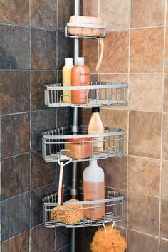 Keep All Your Shower Essentials Within Reach With This Satin Nickel  4 Basket Tension Pole