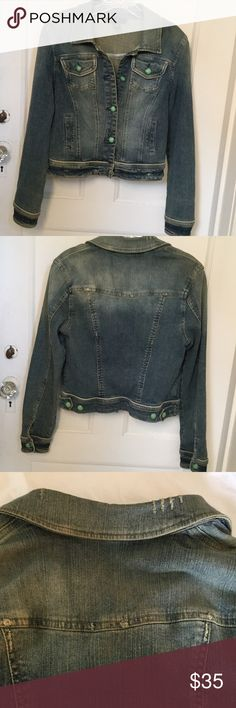 Denim Jacket I.N.C. International Concepts Distressed Denim Jacket with decorative buttons. All fading and distressing original as purchased. Worn just a few times. Jacket is 98% Cotton/2% Spandex. Jacket comes to waist. INC International Concepts Jackets & Coats Jean Jackets