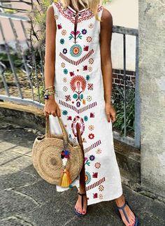 43 Ideas dress maxi floral sleeve for 2019 Vestido Maxi Floral, Nice Dresses, Casual Dresses, Floral Dresses, Awesome Dresses, Stylish Dresses, Maxi Dresses Plus Size, Sleeveless Dresses, Dresses Dresses