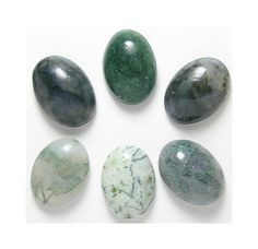 6 Green Moss Fern Agate Calibrated Cabochons by FenderMinerals