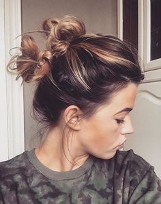 messy double knot updo