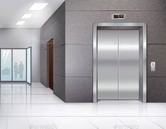 Hall with Elevator by macrovector Office building hall with shining floor and metal chrome elevator door realistic vector illustration. Editable EPS and Render in J Episode Interactive Backgrounds, Episode Backgrounds, Anime Backgrounds Wallpapers, Anime Scenery Wallpaper, Love Wallpaper, Digital Backgrounds, Scenery Background, Iphone Background Images, Living Room Background