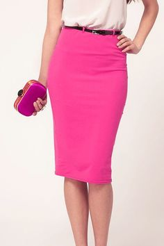 Sexy Solid Rose Cotton Sheath Knee Length Skirt