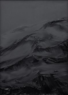 """Abstract black and gray painting, mountains, """"zwischen himmel und erde nr. 24"""" by Conrad Jon Godly, 2008 www.conradjgodly.com"""