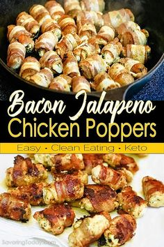 Savory chicken stuffed with cream cheese and jalapenos, wrapped in crisped smoky bacon. Easy to prep in advance and enticing presentation, these delicious bite-size appetizer recipe is worthy of big game gatherings. Bacon Wrapped Chicken Bites, Buffalo Chicken Bites, Bacon Wrapped Jalapeno Poppers, Stuffed Jalapenos With Bacon, Chicken Poppers, Jalapeno Popper Chicken, Easy Appetizer Recipes, Snack Recipes, Dip Recipes