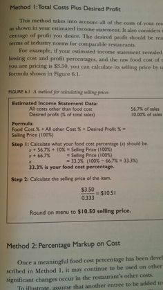 How to calculate desired food cost percentage
