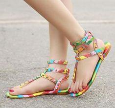 Womens Rainbow Stud Rivet T Strap Gladiator Flat Sandals Flat Heel Shoes  Plus Sz 37966314057c