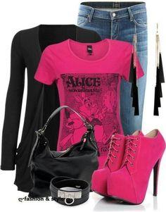 heels and a tshirt