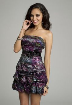Short Dresses - Strapless Print Pick-Up Dress from Camille La Vie and Group USA
