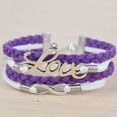 Purple Hand Woven Sliver Tone Love Infinity DIY Bracelet Weeding Bridesmaid Gift | eBay
