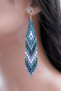 Teal Green Purple and White Long Beaded by CreationsbyWhiteWolf
