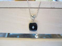 Black onyx diamond pendant with chain 10k by GGJewelsandCoins