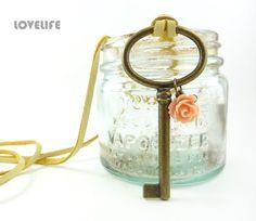Antique Key Necklace - Large Skeleton Key Necklace Pendant - Chick Cozy Rustic Wedding Gift Bridesmaid Necklace - Unique Handmade Jewelry