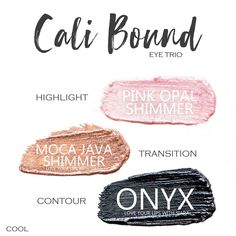 Cali Bound Eye Trio uses three SeneGence ShadowSense : Pink Opal Shimmer, Moca Java Shimmer and Onyx. These creme to powder eyeshadows will last ALL DAY on your eye. #shadowsense #trio #shadowsensetrio #eyeshadow #calibound