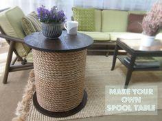 Make a Spool Table: Rope, Sonotube, Plywood Circles, Hot Glue and Hot Glue Gun
