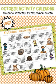 Don't miss the October preschool activity calendar! Celebrate all of this month's special days with books, printables, and hands-on activities! #homeschoolprek #activitycalendar #octoberactivities #octoberbooks #octoberpreschool