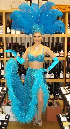 Turquoise Las Vegas Style Showgirl by J and D Entertainment in Houston
