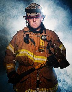 A fantastic firefighter portrait by reader Jeremy Long. Firefighter Apparel, Firefighter Love, Creative Portraits, Studio Portraits, Hobby Photography, Portrait Photography, Firefighter Photography, Firefighter Pictures, Environmental Portraits