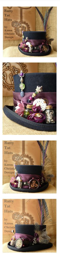 Ladies Navy Blue Steampunk Hat with Mono Goggle, Hatpins and Antique Watch Parts - The Apothecarist. A custom make for an Aromatherapist.