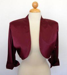 Long Sleeve 3/4 Length Burgundy Satin Bolero Jacket Wedding Shrug Bridal jacket $49.99
