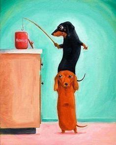 The Bone Thieves - Dachshund Dog Art on Etsy, €15,10