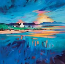 View to Eigg & Rhum - Scott Naismith Abstract City, Abstract Landscape, Landscape Paintings, Landscapes, Art Pictures, Art Images, Water Artists, Seascape Art, Painting People
