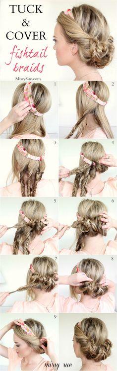 Coucou les filles,  Astuces de Filles vous propose aujourd'hui une sélection de tutoriels pour arborer de belles coiffures à base de headband. Effet hippie-c