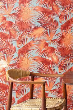 Palm fronds in strong pattern colours like pastel orange, claret, and pearlescent pink on a grey background exude seemingly endless energy and prov. Wallpaper Samples, I Wallpaper, Designer Wallpaper, Pattern Wallpaper, Flower Power, Cool Wallpapers Home, Wallpaper Pink And Orange, Pink Wallpaper Bathroom, Palmas