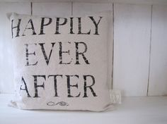Happily Ever After ..... Feedsack Pillow Cover 16 x by funkyshique