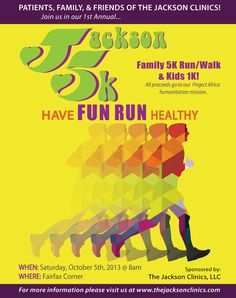 TJC patients, family, staff & friends... Join us for our first annual #jackson5k! Help us raise money for a good cause and promote health and fitness in our greater community. #physicaltherapy http://www.thejacksonclinics.com/news-center/current-news/jackson-5k-fun-run