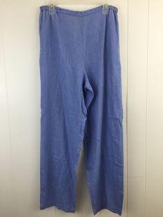 Eileen Fisher size Large / L Pants #IrishLinen Blue Comfy Slip On Elastic Waist Slacks. Made in the USA #EileenFisher