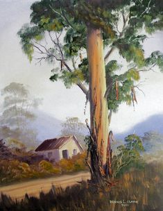 How to paint Bluegum trees in oils/acrylics. This is a 2 hour live recorded… Landscape Art, Landscape Paintings, Landscape Photography, House Landscape, Painting & Drawing, Watercolor Paintings, Protea Art, Watercolor Flowers Tutorial, Painted Baskets