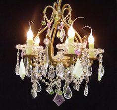 """Rare! Amethyst ROCK Crystal! VASELINE Glass! ALABASTER! Vintage  Brass Chandelier 15"""" X 18"""" Ooak Custom Dressed 5 Lights - Spain"""