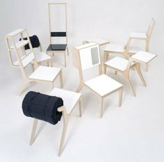 multi-purpose chairs can transform into a bed, bench, shelf...