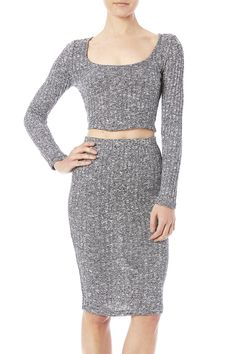 Grey triblend cropped long sleeve with a matching midi length skirt set.  Tri-Blend Set by Popular Basics. Clothing - Matching Sets San Diego California