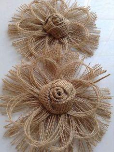 Flower Crafting Burlap, hemp, jute - all great materials for flower making Burlap Flowers, Burlap Lace, Felt Flowers, Diy Flowers, Fabric Flowers, Paper Flowers, Wreath Burlap, Wedding Flowers, Brown Flowers