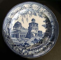 STAFFORDSHIRE PEARLWARE ORIENTAL SCENERY TRANSFERWARE BLUE & WHITE PLATE C. 1820-30 THE MONOPTOROS PATTERN BY ROGERS