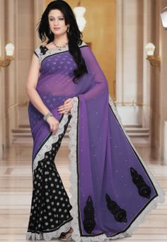 Lavender and Black Faux Georgette Saree With Blouse @ $43.56