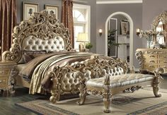 Homey Design HD-7012 Victorian European Button Tuft Cal King Bed