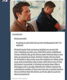 These Destiel posts kill me. I NEVER want it to be cannon, but I must admit they're hilarious