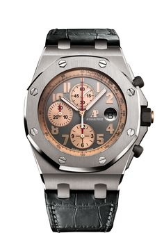 """Chronograph, hours, minutes, small seconds and date. Titanium case, glareproofed sapphire crystal, 18-carat pink gold caseback, engraved with the legend """"Royal Oak Offshore Pride of Indonesia"""" and the Indonesian eagle, black rubber-clad screw-locked crown and pushpieces. Limited edition of 100."""
