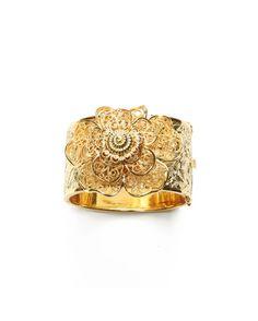 Big Bold Flower Bangle Cuff Bracelet #jewelry #women #ladies #flower #rose #gold #fashion #cuff #bangle