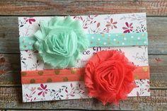 2 Baby Headbands/Baby Headband Set/Baby Headband/Newborn Headband/Infant Headband/Baby Girl Headband/Shabby Chic Headband/Hair Bow/Headbands by JuliaGraceDesigns1 on Etsy
