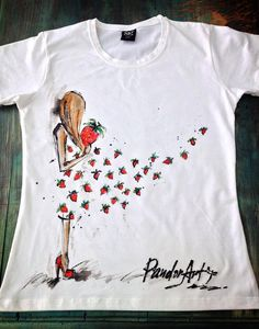 Pretty girl with by palettePandora T Shirt Painting, Fabric Painting, Fabric Art, Strawberry Dress, Hand Painted Fabric, Sewing Blouses, Pattern Coloring Pages, Painted Clothes, Tie Dye T Shirts