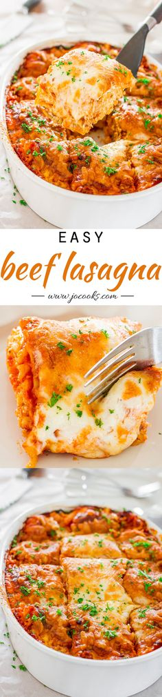 Easy Beef Lasagna – easiest lasagna ever without the need to boil noodles or slave hours over the sauce. Perfect meal for a busy weeknight dinner.