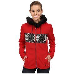 Spyder Soiree Hoodie Faux Fur Mid Weight Core Sweater Women's Sweater ($199) ❤ liked on Polyvore featuring tops, hoodies, zipper hoodies, zip hoodie, red hoodie, zip hoodies and zippered hooded sweatshirt