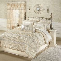 Radiance Shirred Faux Silk Comforter Bedding touchofclass.com love this <33