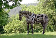 Beautiful horses created out of driftwood by talented artist Heather Jansch.