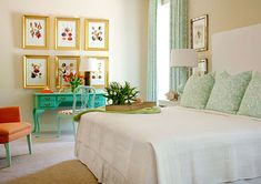 pretty turquoise and coral bedroom - simple white bedding and headboard, matching pillows w/ drapes