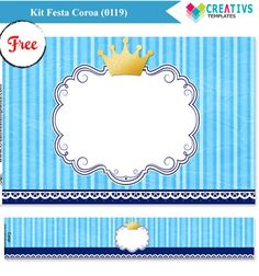 Kit festa digital coroa para menino Digital Printable Crown Party